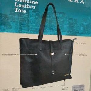 Stella & Max Black Leather Tote Purse